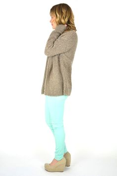 Spring 2015 ootd. Pastel pants and a cozy knit sweater. Simple and chic.