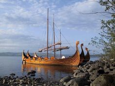 Viking ship, incredible in the sea and shallow waters