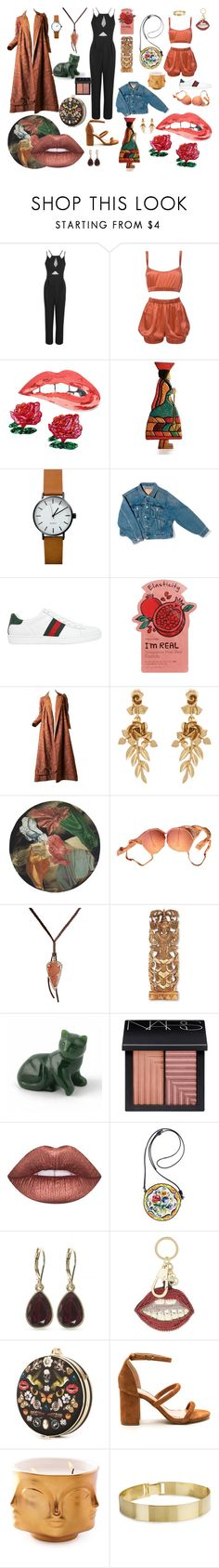 """""""while watching Catfish"""" by vaginatown on Polyvore featuring Roses Are Red, NOVICA, Balenciaga, Gucci, Charlotte Russe, Oscar de la Renta, La Perla, Feathered Soul, NARS Cosmetics and Lime Crime"""