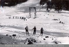 White Hill ski area Lake Tahoe Vintage Photography. Ski Resort picture taken circa 1940's vintage Lake Tahoe