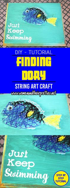 Make your own Finding Dory String Art with this fun tutorial - DIY String Art Crafts To Do, Easy Crafts, Crafts For Kids, Arts And Crafts, Disney String Art, Nail String Art, Activities For Autistic Children, Craft Activities For Kids, Group Activities