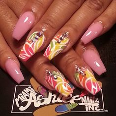 Pretty nail art design idea with rhinestone accents Nail Art Designs, Beautiful Nail Designs, Acrylic Nail Designs, Nails Design, Summer Acrylic Nails, Best Acrylic Nails, Funky Nails, Crazy Nails, Pretty Nail Colors