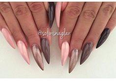 Long nails stilleto rose brown black