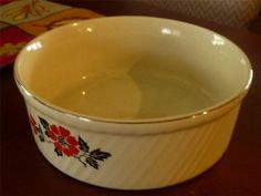 Hall China Kitchenware Pottery ~ French Fluted Baker Souffle Bowl - POPPY