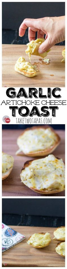 Warm and gooey cheese toast is made even tastier with roasted garlic and tangy marinated artichokes. Garlic Artichoke Cheese Toasts Recipe   Take Two Tapas