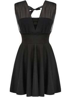 Black Deep V Neck Sleeveless Pleated Dress 16.00