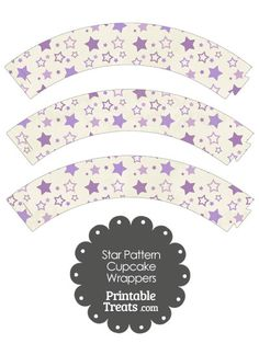 Vintage Purple Star Pattern Cupcake Wrappers from PrintableTreats.com