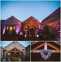 Heaton House Farm - pink outside lighting - up-lighting - oak porch-way - flaming flambeaux - wedding guests - floral heart - purple wedding flowers - fairy lights - venue lighting - wedding lighting - wedding flowers