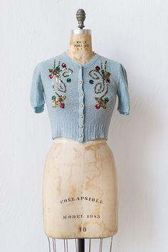 vintage 1940s blue knit sequined top | Winter Jubilee Top