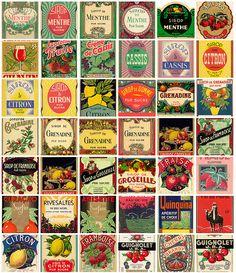 étiquettes boissons vintage