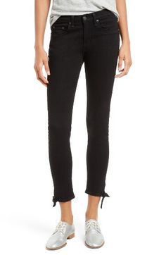 Free shipping and returns on rag & bone/JEAN Stevie Tie Hem Capri Skinny Jeans at Nordstrom.com. Cute tie details highlight the sunshine-ready cropped hems of svelte skinny jeans crafted with a hint of stretch.