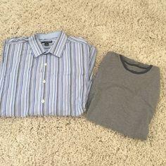 Men's XL shirt bundle 1 blue stripes XL metro exchange dress shirt & 1 short sleeve banana republic t shirt Banana Republic Tops