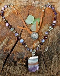 """Journey to the center of the earth"" amethyst with suade and a fun button! Mermaid tears jewelry"