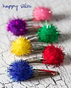 Cute Sparkle Pom Hair Clips!!! (c) HappySolez.etsy.com