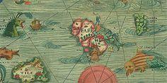 Northern oceans map - sea monsters
