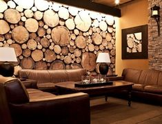 Ideas cover wood paneling furniture for 2019 Tree Trunk Slices, Wood Slices, Tree Stumps, Cover Wood Paneling, Log Wall, Tree Wall Decor, Wood Interiors, Modern Interior Design, Wall Design