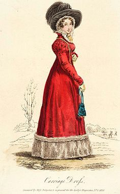 Carriage dress ca. 1825-very elaborate hat-Regency Period