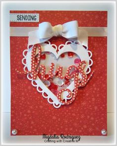 Crafting with Creative M: Shaker card using the Hugs Dies & Hugs Needed stamp set from Pink & Main, the Stitched Scallop Heart Die Set from My Creative Time and the Peppermint Icicle & Raspberry Cupcake Sequins from Annie's Paper Boutique.