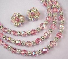 pale pink aurora borealis jewelry sets   Vintage 3 Strand Pink Crystal and Rhinestone Bead Necklace & Earrings ...