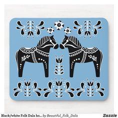 Shop Black/white Folk Dala horse/Folk Friesian Mouse Pad created by Beautiful_Folk_Dala. Christmas Art, Christmas Ideas, Scandinavian Folk Art, Lino Cuts, Friesian, Custom Mouse Pads, Plate Design, Pottery Painting, Horse Art