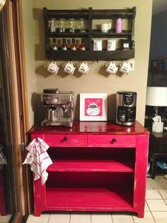 Coffee Bar Ideas for Your Kitchen, love how the cups spell out coffee!!.