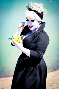 Scarlett Vondetta as Ursula from the Little Mermaid. Poor Flounder! Ascarate Park El Paso Texas. Pinup - Cosplay photoshoot idea Make up Hairstyle - Pinup Girl Clothing - PUG Sun City Pinup Dolls!