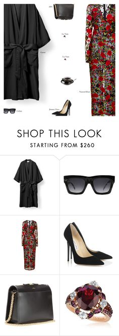 """""""Untitled #3240"""" by amberelb ❤ liked on Polyvore featuring CÉLINE, Naeem Khan, Jimmy Choo, A.P.C. and LE VIAN"""