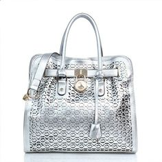 #AllAccessKors #NYFW Michael Kors Hamilton Perforated Logo Large Silver Totes Makes You Elegant And Stylish, Come Here To Buy.