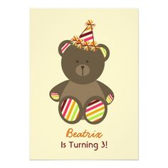 Bear With Striped Birthday Hat Girl's Party Invitation