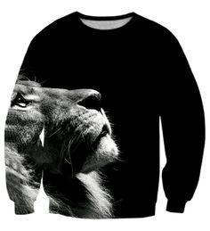 Black & White Elegant Lion Wild Animal Classic Crewneck Sweatshirt