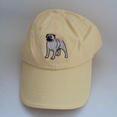Pug baseball cap embroidery *do not wash hat**** pastel yellow pictured