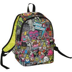 David & Goliath All Over Monster Print Grey Backpack (£18) ❤ liked on Polyvore featuring bags, backpacks, backpack sling bag, print backpacks, handle bag, strap backpack and patterned backpacks