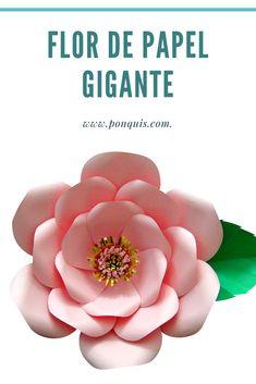 Espectacular Flor de Papel. Vídeo de paso paso y Molde Gratis disponible en mi página de Facebook @Ponquis.info Facebook, Paper Roses, Paper Envelopes