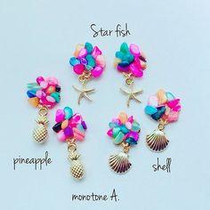 【monotone_a】さんのInstagramをピンしています。 《✩お知らせ✩ DM、そしてイベントの時にも お問い合わせ多かったので こちらでお知らせさせていただきますこちらのカラフルなさざれ石ピアスもご注文可能です♡ . . . . . . . #さざれ石 #カラフル #パイナップル #シェル #スターフィッシュ #ビーチ #beach #Aloha #海 #sea #ひとで #海を感じるアクセサリー #ハンドメイドアクセサリー #イヤリング #ピアス #ハワイ #ゆらゆら #minne #プチプラ #貝殻 #三重 #伊賀 #名張 #奈良 #京都 #アクセサリー》