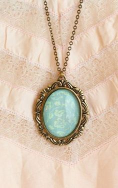 Cameo Necklace Large Cameo Pendant Pale Aqua by JacarandaDesigns