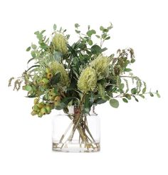 Australian Native Flowers in Vase and other apparel, accessories and trends. Browse and shop related looks. Faux Flower Arrangements, Vase Arrangements, Flower Vases, Faux Flowers, Green Flowers, Australian Native Flowers, Australian Beach, Faux Plants, Vases Decor