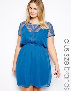 ASOS.com New Look Inspire Mesh And Lace Insert Skater Dress