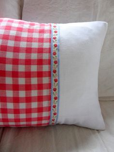 Vintage Embroidery and Red Gingham Cushion by gillyflowerdesigns