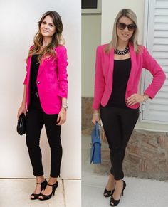 06_Looks de trabalho_looks femininos_Looks para entrevista de emprego_Calça preta_blusa preta_blazer rosa pink