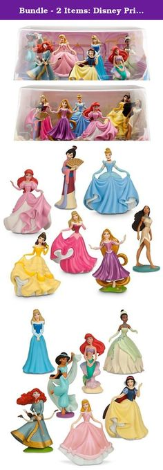 "Bundle - 2 Items: Disney Princess Mini-figure Play Sets #1 and #2 - 14 Pc. Featuring all of your favorite Disney Princesses, this enchanting set includes the following 14 Royal members: Snow White, Cinderella in her pink party dress, Aurora in her blue dress, Ariel as a mermaid, Jasmine, Tiana, Merida, Cinderella in her ball gown, Aurora in her pink dress, Belle in her ball gown, Ariel in her pink dress, Pocahontas, Mulan, and Rapunzel. Ages 3+ PVC Up to 4"" height Imported."