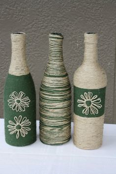 Set of 3 Custom Wrapped Wine Bottles Jute Twine and Yarn. Gorgeous Decor and Gifts. Great for the Fall Season.