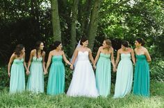 Bunny Themed Vineyard Hotel Wedding by Love Made Visible Samantha & Paul SouthBound Bride. Lovely colours for the bridesmaids! Aqua Wedding, Elegant Wedding Dress, Wedding Colors, Dream Wedding, Wedding Dresses, Hotel Wedding, Ombre Bridesmaid Dresses, Blue Bridesmaids, Wedding Bridesmaids