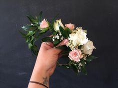Blush and cream flower crown. #flowercrown #utahflorist #blushpink #ruscus #halo #flowers # babysbreath