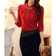 Beading Long Sleeve Turn Down Collar Single-Breasted Women's Shirt, RED, S in Blouses   DressLily.com