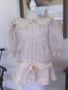 Silk & Lace Antique Dress for your German French Doll Jumeau Kestner Bru Clothes