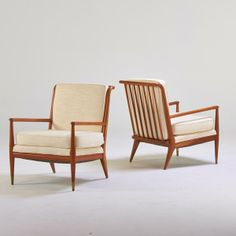 John Stewart; Maple and Brass Armchairs for Widdicomb, 1960s.