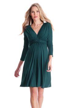 fa4cea27021ff Seraphine Jolene 3/4 Sleeve Maternity Dress in Dark Green Casual Maternity,  Green Maternity