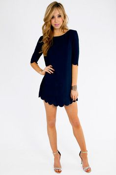 Scalloped Navy Dress