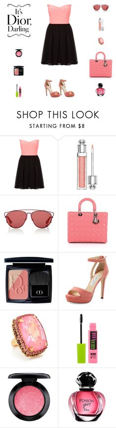 """Contest: Black & Coral Pink Outfit"" by billsacred ❤ liked on Polyvore featuring TALLY WEiJL, Christian Dior, Jimmy Choo, Elizabeth Cole, Maybelline, MAC Cosmetics and Dior"