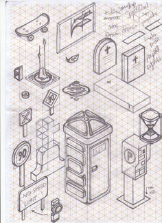 Sketches on a isometric reticle paper! Dont like the lines when im drawin, but in this case the paper helped too much, without the lines would be impossible. I was 2 months just thinking about things you can find in a city, and trying to draw them. Isometric Sketch, Isometric Art, Isometric Design, Teaching Drawing, Drawing Practice, Drawing Skills, Graphisches Design, Sketch Design, Book Design